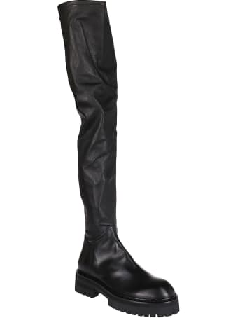 Ann Demeulemeester Black Leather Thigh-high Boots