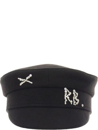 Ruslan Baginskiy Crystal Embellished Baker Boy Cap Black