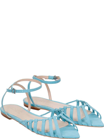 Schutz Flats In Cyan Leather