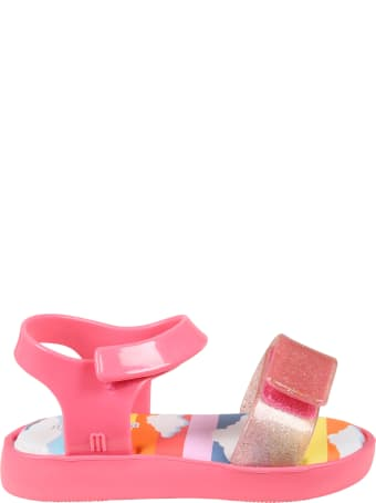 Melissa Pink Sandals For Girl With Clouds