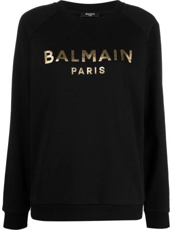 Balmain Black Sweatshirt With Metallic Logo Print