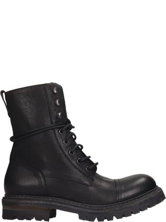 Roberto del Carlo Combat Boots In Black Leather