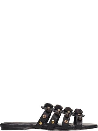 Ioannis Black Leather Sandals