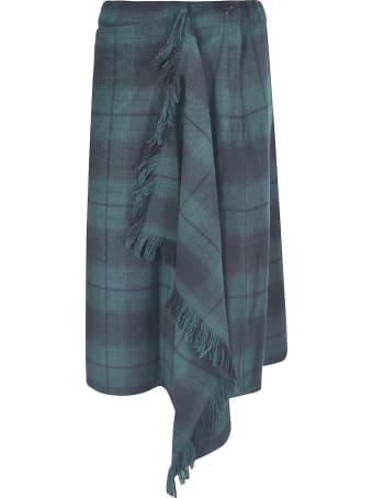 Zucca Asymmetric Checked Skirt