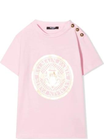 Balmain T-shirt With Print And Buttons