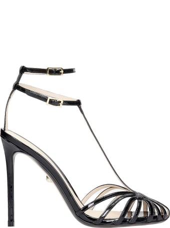 Alevì Stalla 110 Sandals In Black Patent Leather