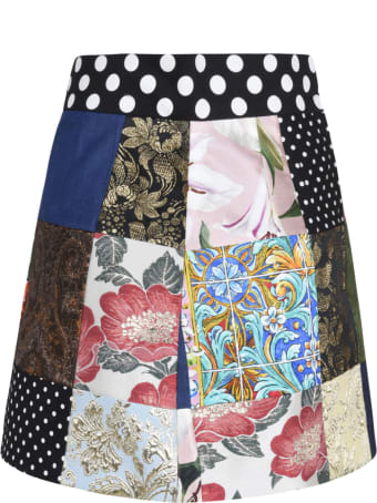 Dolce & Gabbana Multi-patched Denim Skirt
