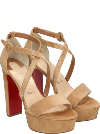 Christian Louboutin Loubi Bee Sandals In Leather Color Suede