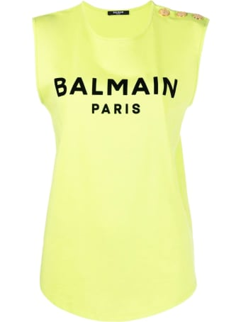 Balmain Lime Green And Black Cotton T-shirt