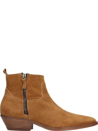 Julie Dee Texan Ankle Boots In Leather Color Suede