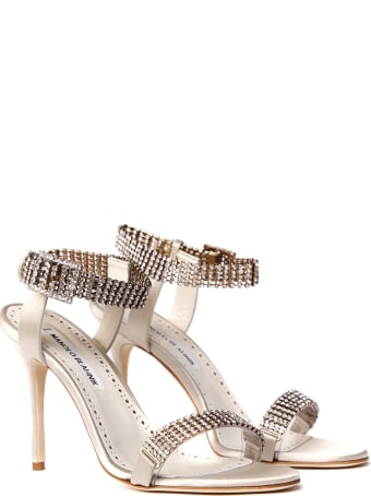 Manolo Blahnik Bashifa Embellished Silk Satin Sandals