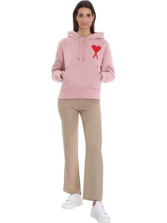 Ami Alexandre Mattiussi Sweatshirt In Rose-pink Cotton