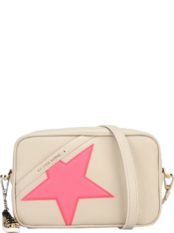 Golden Goose Off-white Star Bag In Hammered Leather, Fuchsia Golden Goose Star With Iridescent Glitter