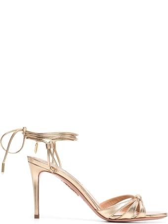 Aquazzura Golden Leather  Sole Sandals