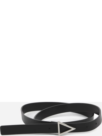 Bottega Veneta Leather Belt With Silver Triangular Buckle