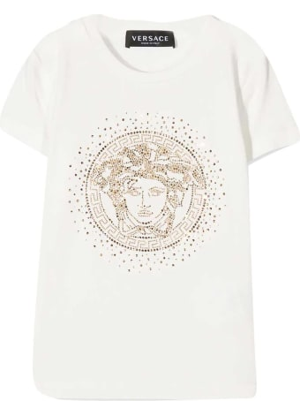 Young Versace White T-shirt With Golden Print