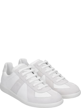 Maison Margiela Replica Sneakers In White Suede And Leather