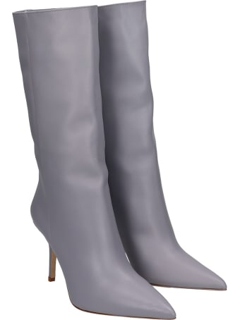 Gia X Pernille Teisbaek High Heels Boots In Grey Leather