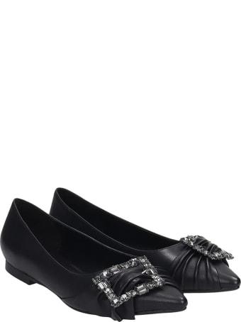 Lola Cruz Ballet Flats In Black Leather