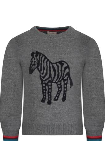 Paul Smith Junior Grey Babyboy Sweater With Iconic Zebra