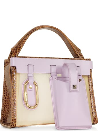 Salar Ludo Mesh And Leather Tan & Lillac Top Handle Bag