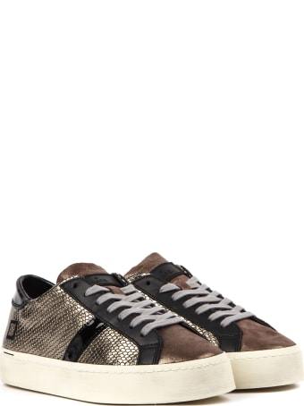 D.A.T.E. Hill Double Roof Sneakers In Bronze Laminated Leather