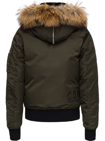 Dsquared2 Nylon Twill Sport Jacket With Fur Collar 100%polyamide