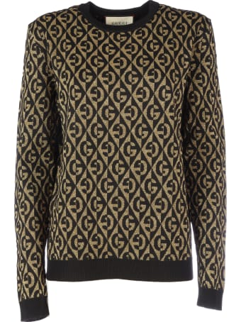 Gucci Crewneck Long Sleeves Logo Gg All Over  Lurex