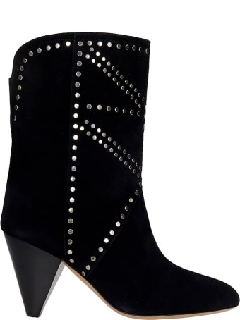 Isabel Marant Deezia High Heels Ankle Boots In Black Suede