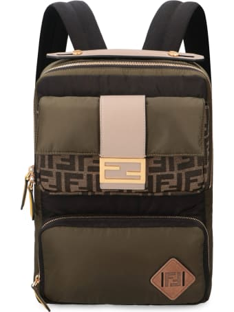 Fendi Leather Details Nylon Backpack
