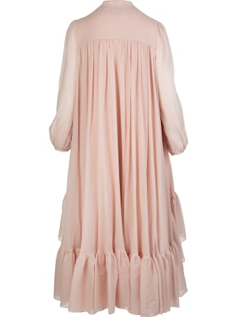 Alexander McQueen Powder Pink Silk And Cotton Faille Midi Dress