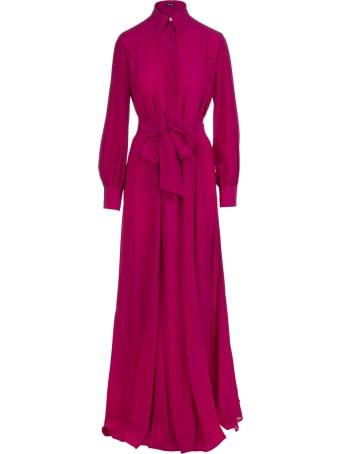 Kiton Raspberry-pink Silk Tied-waist Silk Maxi Dress