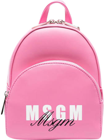 MSGM Pink Backpack With Logo