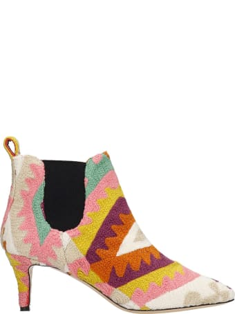 Bams High Heels Ankle Boots In Multicolor Wool