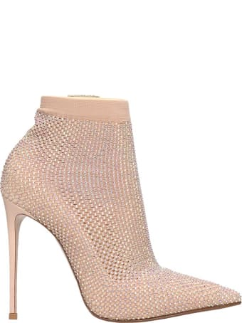 Le Silla High Heels Ankle Boots In Powder Tech/synthetic