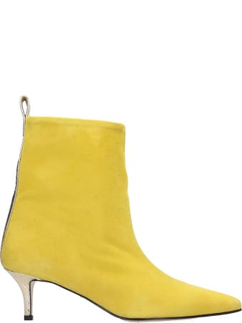 Marc Ellis Low Heels Ankle Boots In Yellow Suede