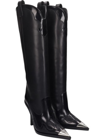 Versace Texan Boots In Black Leather