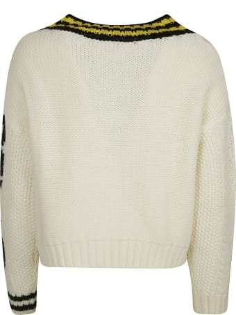RED Valentino Ribbed V-neck Woven Sweater