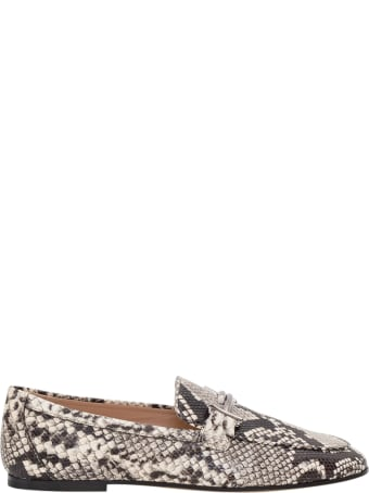 Tod's Python Printed Leather Loafers