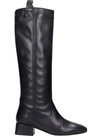 Fabio Rusconi Low Heels Boots In Black Leather