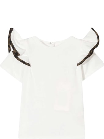 Fendi White T-shirt With Ruffles