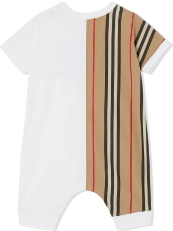 Burberry White And Beige Organic Cotton Playsuit
