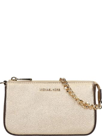 Michael Kors Hand Bag In Gold Leather