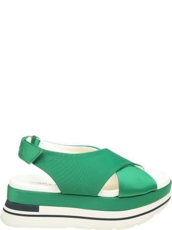 Manuel Barcelò Manuel Barcelo' Sandal In Satined Fabric Green Color