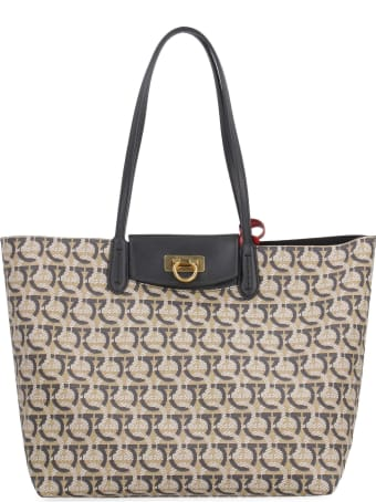 Salvatore Ferragamo Gancini Canvas And Leather Shopping Bag