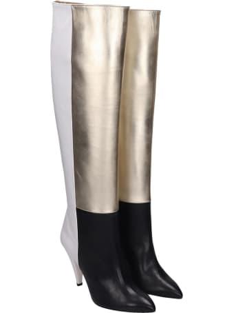 Alchimia Black White Platinum Calf Leather Boots