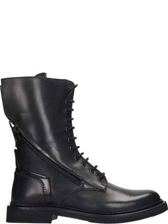 Bruno Bordese Bologna Combat Boots In Black Leather