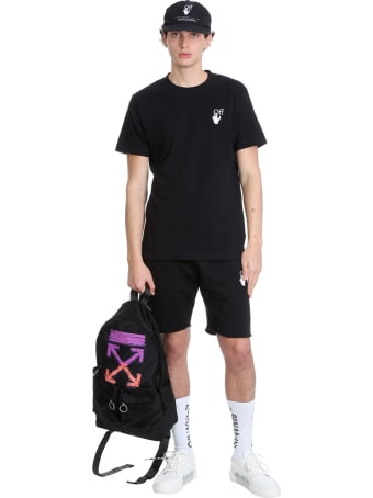 Off-White Marker Shorts In Black Cotton