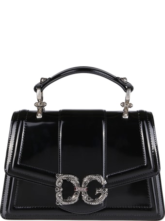 Dolce & Gabbana Black Patent Leather Shoulder Bag