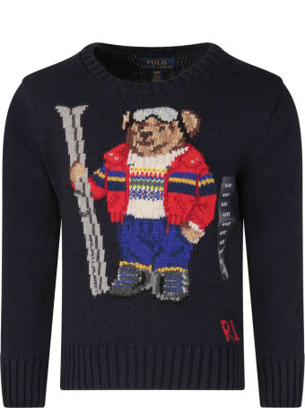 Ralph Lauren Blue Boy Sweater With Colorful Bear